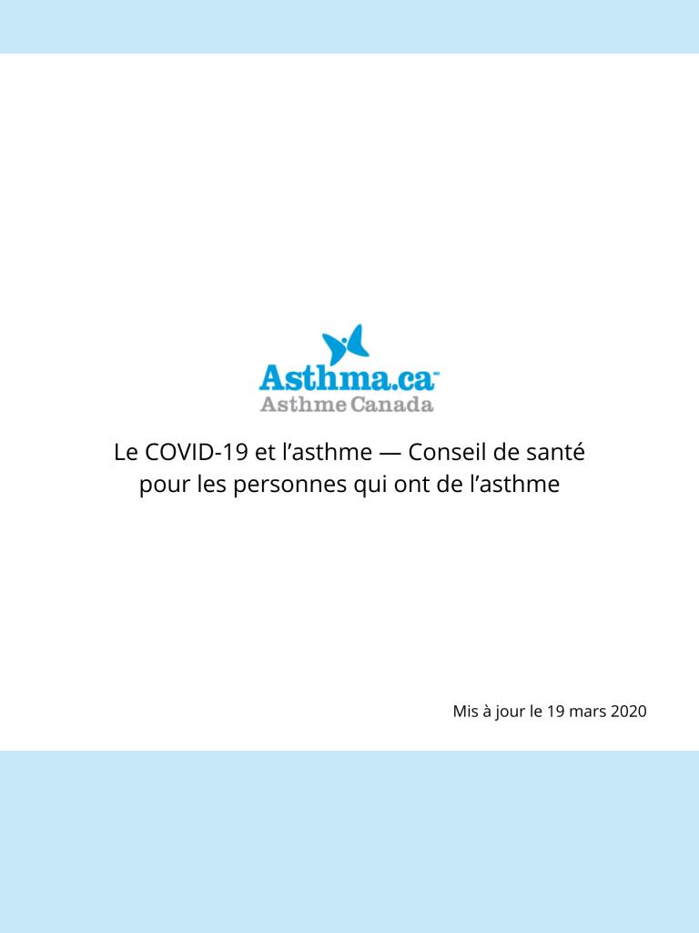 Le COVID-19 et l'asthme — Conseil de santé pour les personnes qui ont de l'asthme