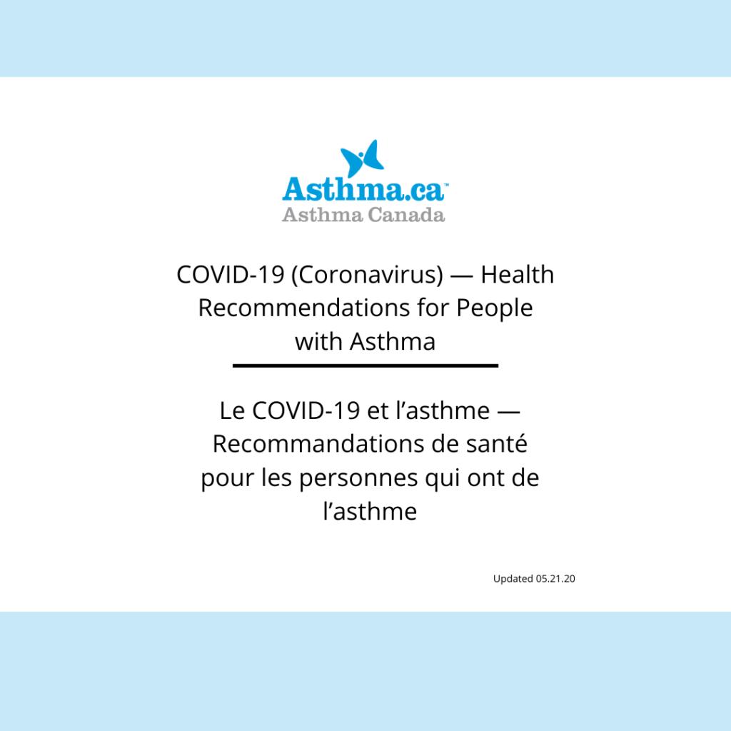 Le COVID-19 et l'asthme - Recommandations de santé pour les personnes qui ont de l'asthme